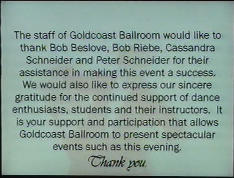 Credits - A Thank You from the Staff of Goldcoast Ballroom