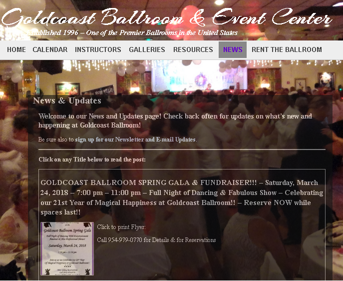 Upcoming Events Page - Goldcoast Ballroom & Event Center