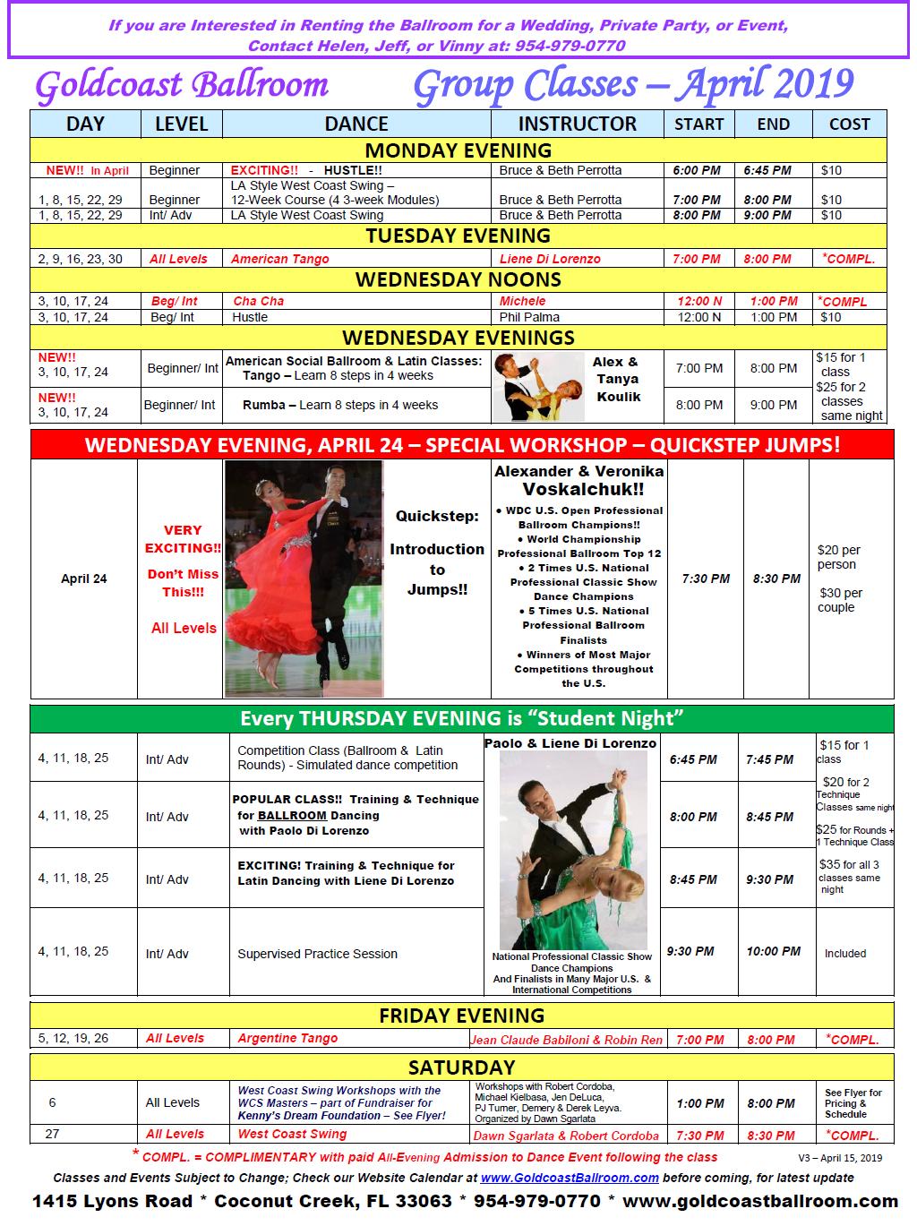 Goldcoast Ballroom April 2019 Calendar - Group Class Schedule