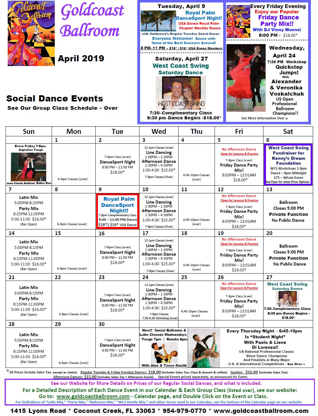 Goldcoast Ballroom April 2019 Calendar - Social Dance Events