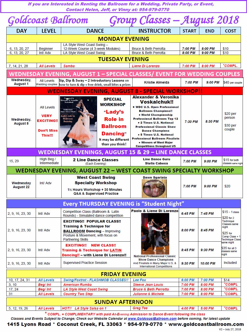 Goldcoast Ballroom August 2018 Calendar - Group Classes