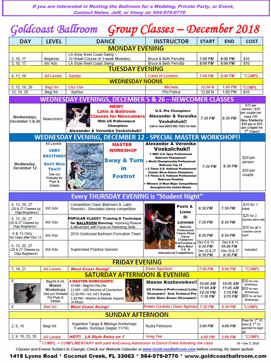 Goldcoast Ballroom December, 2018 Calendar - Group Class Schedule