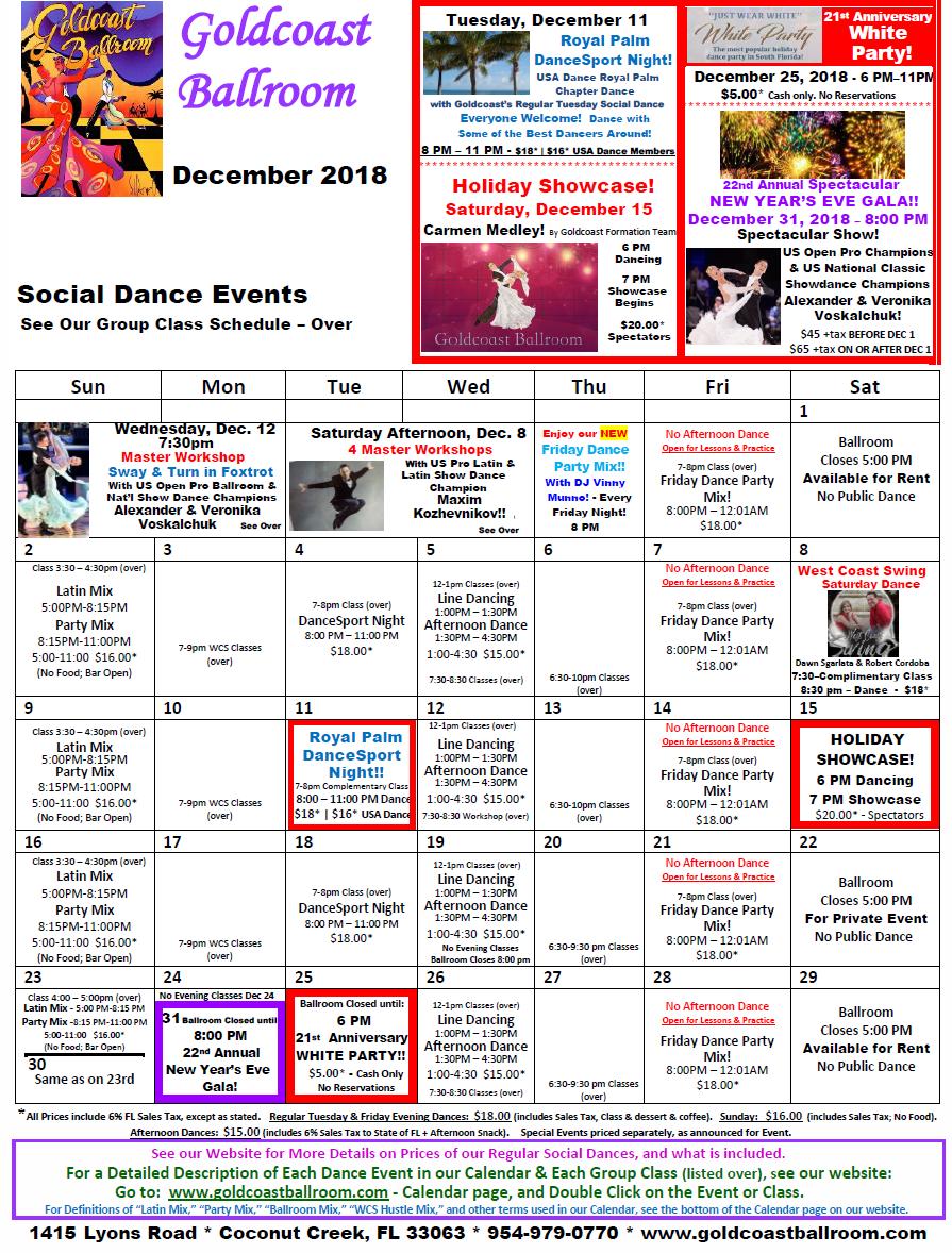 Goldcoast Ballroom December, 2018 Calendar - Social Dance Events
