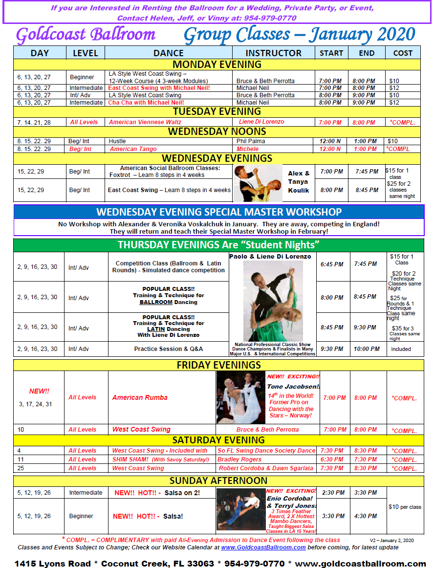 Goldcoast Ballroom - January, 2020 Calendar - Group Class Schedule