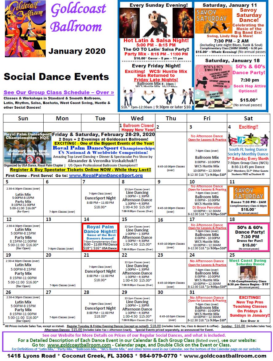Goldcoast Ballroom - January, 2020 Calendar - Social Dance Events