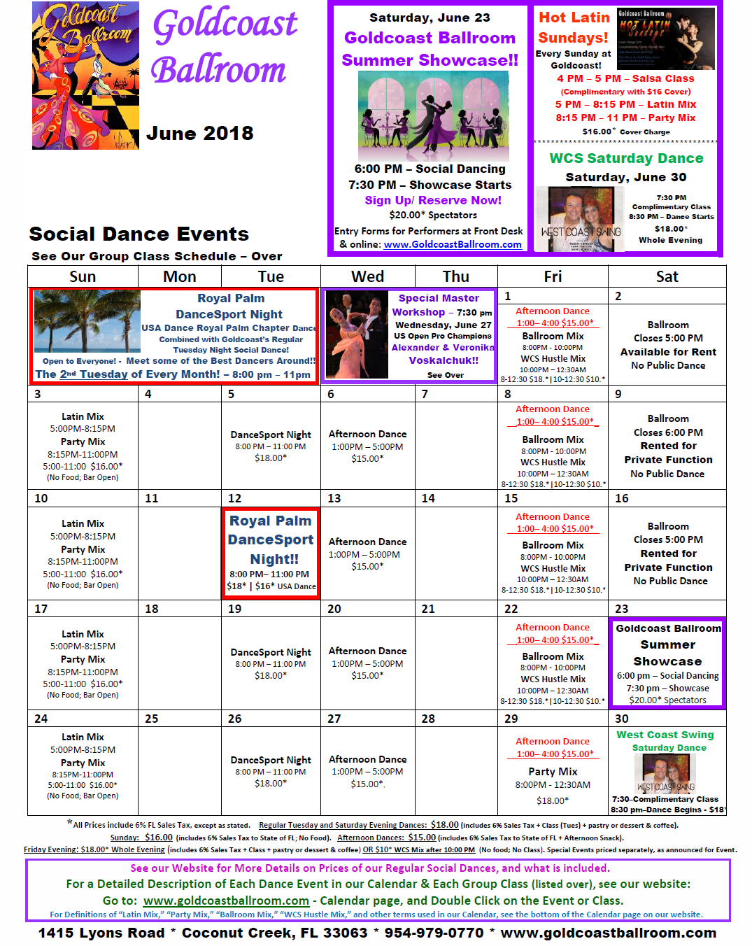 Goldcoast Ballroom June 2018 Calendar - Social Dance Events