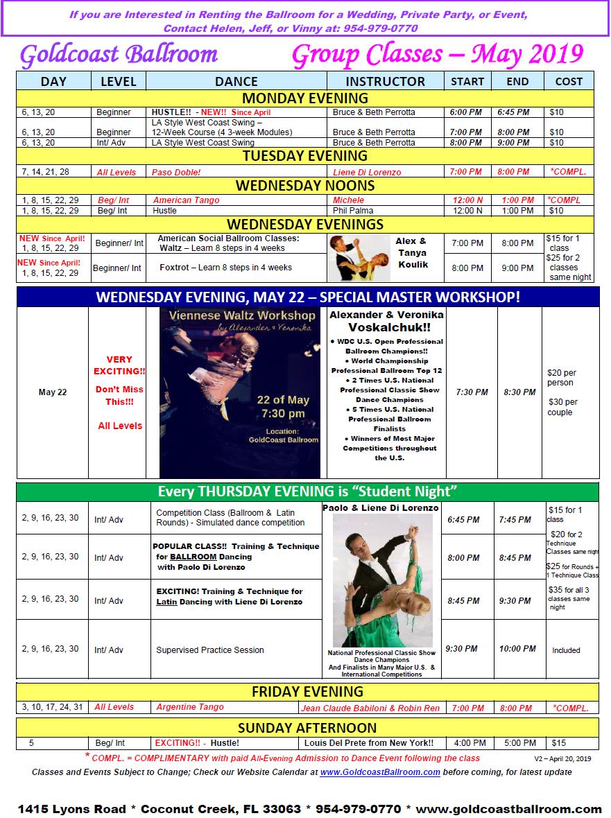 Goldcoast Ballroom May, 2019 Calendar - Group Class Schedule