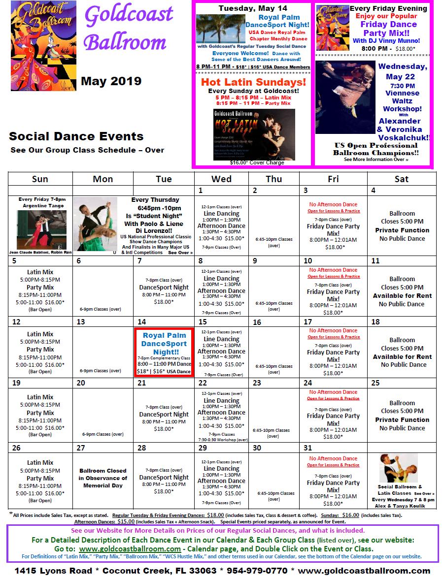 Goldcoast Ballroom May, 2019 Caolendar - Social Dance Events