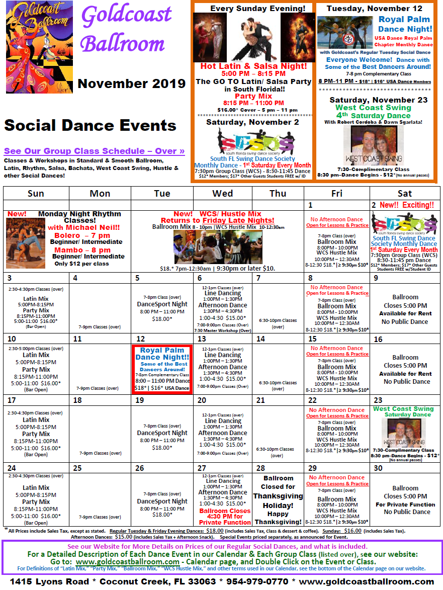 Goldcoast Ballroom November, 2019 Calendar - Social Dance Events
