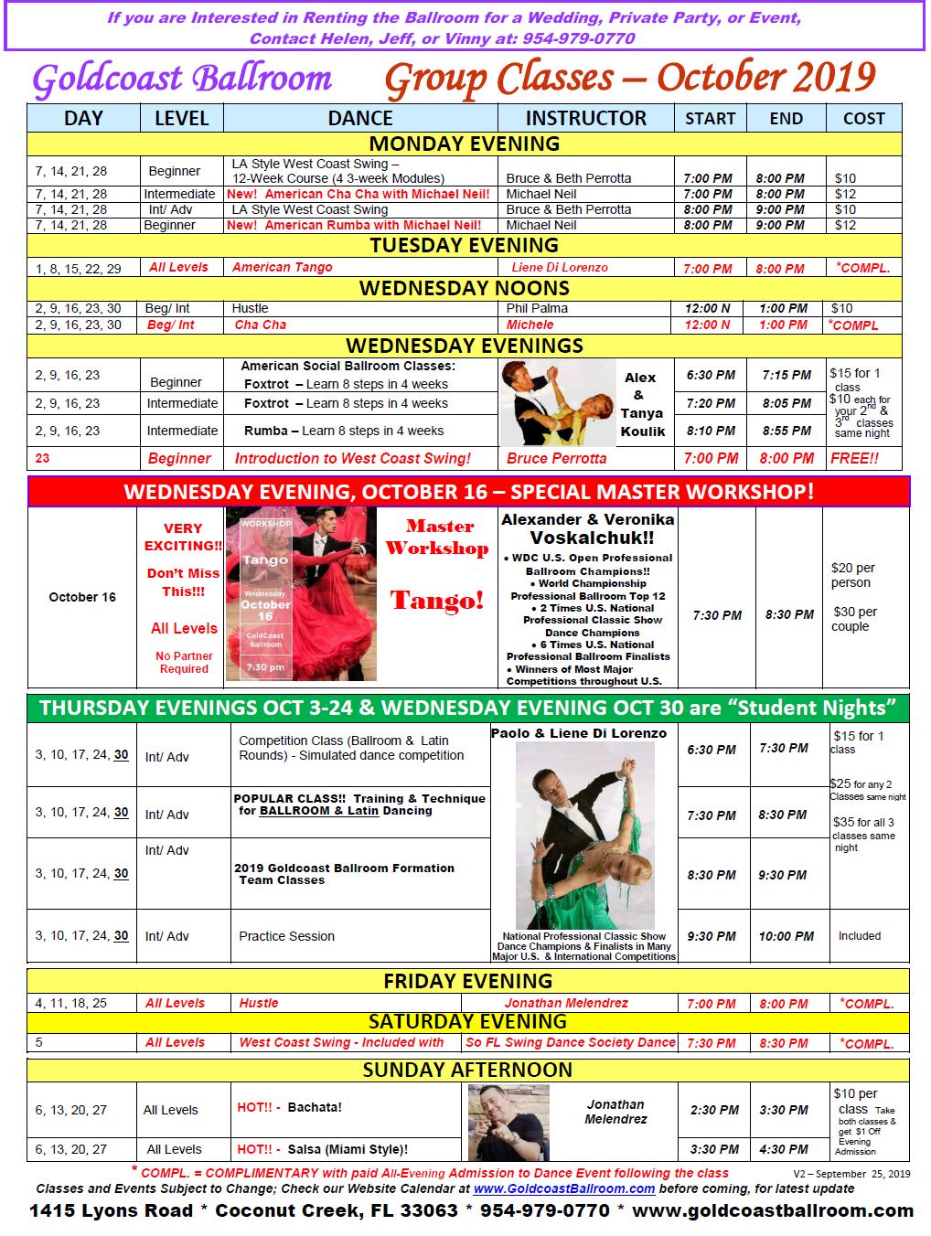 Goldcoast Ballroom October, 2019 Calendar - Group Class Schedule