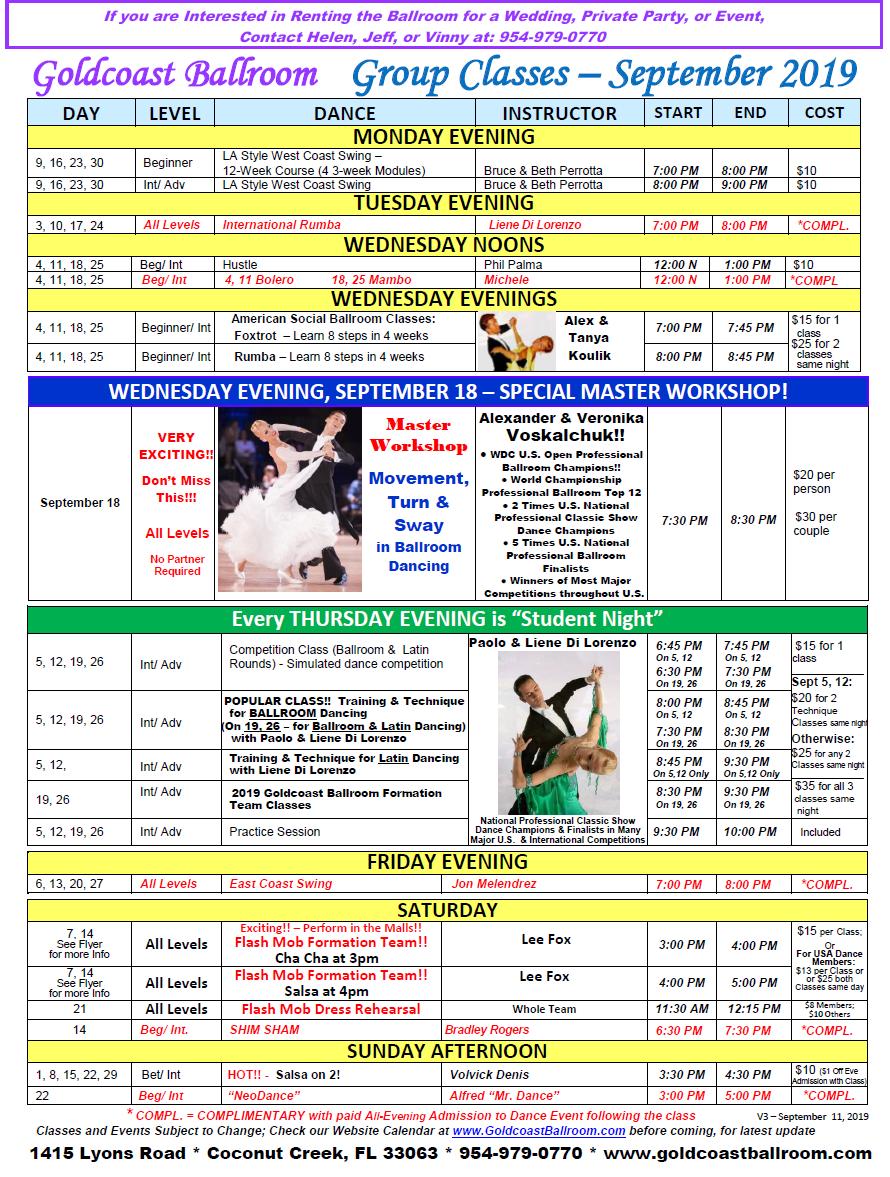 Goldcoast Ballroom September, 2019 - Group Class Schedule