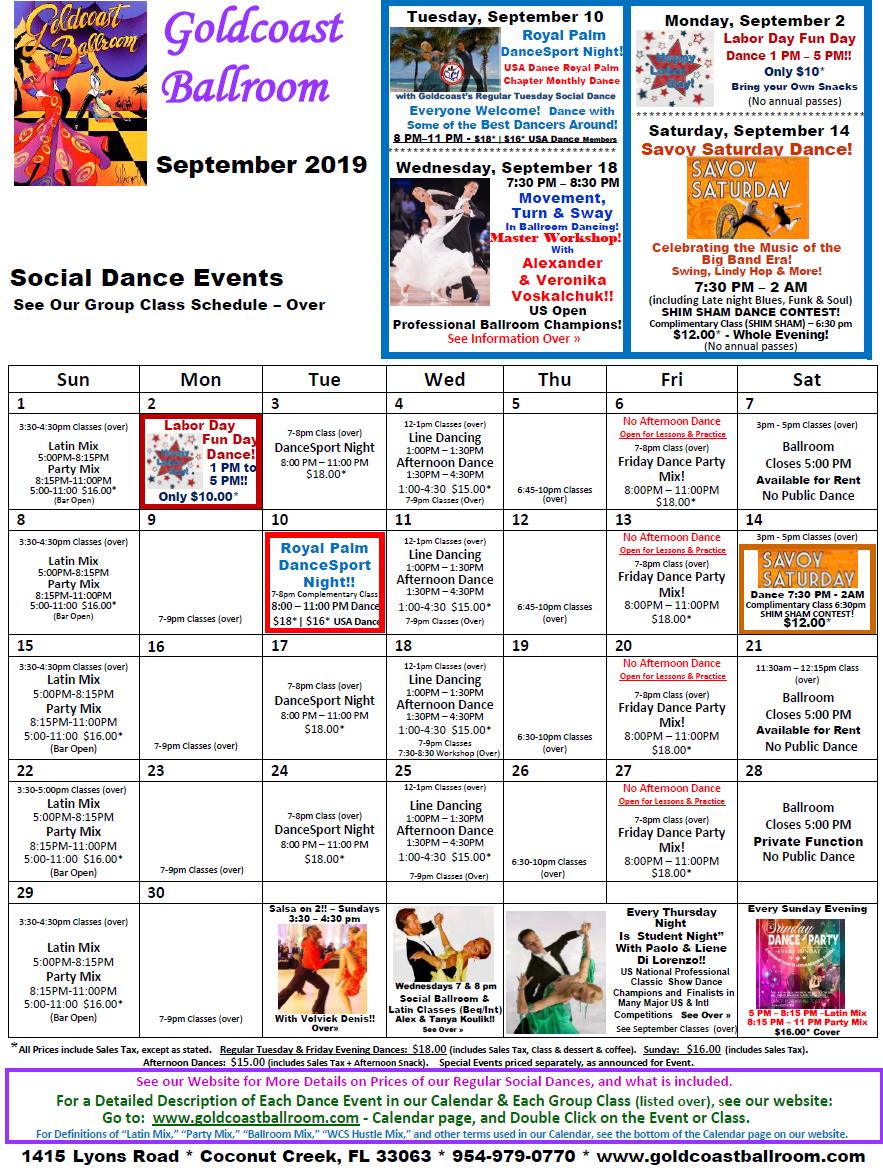 Goldcoast Ballroom September, 2019 Schedule - Social Dance Events