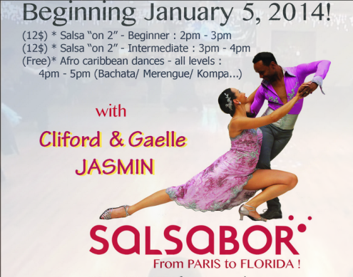 NEW in January: From Paris to Florida – European Champion Salsa Dancers Cliford & Gaelle Jasmin will Teach 'Salsa on 2′ Sundays in January!!