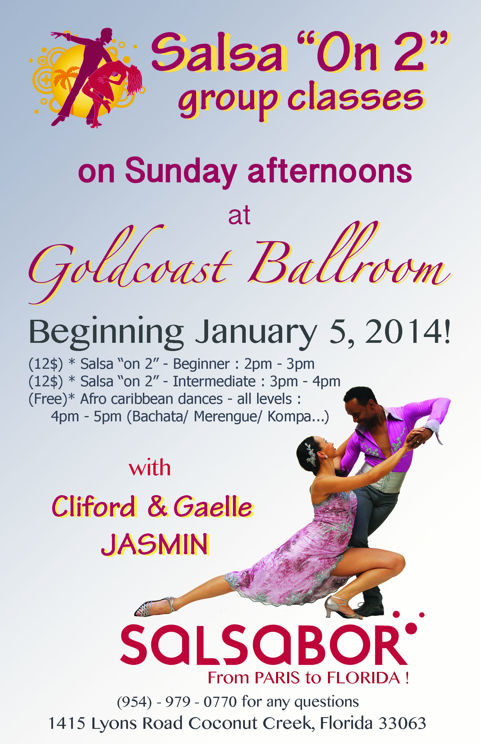 Cliford & Gaelle Jasmin - Salsa on 2 - Sundays, January and February, 2014