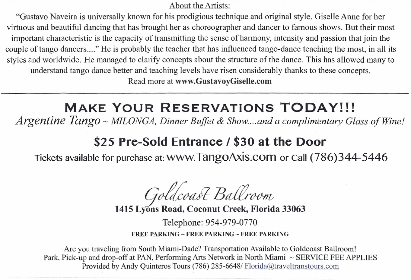 About The Great Milonga Party - April 5, 2014 - at Goldcoast Ballroom