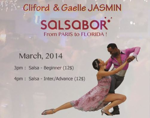 Sunday Afternoons in March – Salsa on 2 with Gaelle & Cliford Jasmin – European Salsa Champions – From Paris to Florida!!