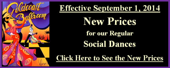 New Prices for our Regular Afternoon & Evening Social Dances