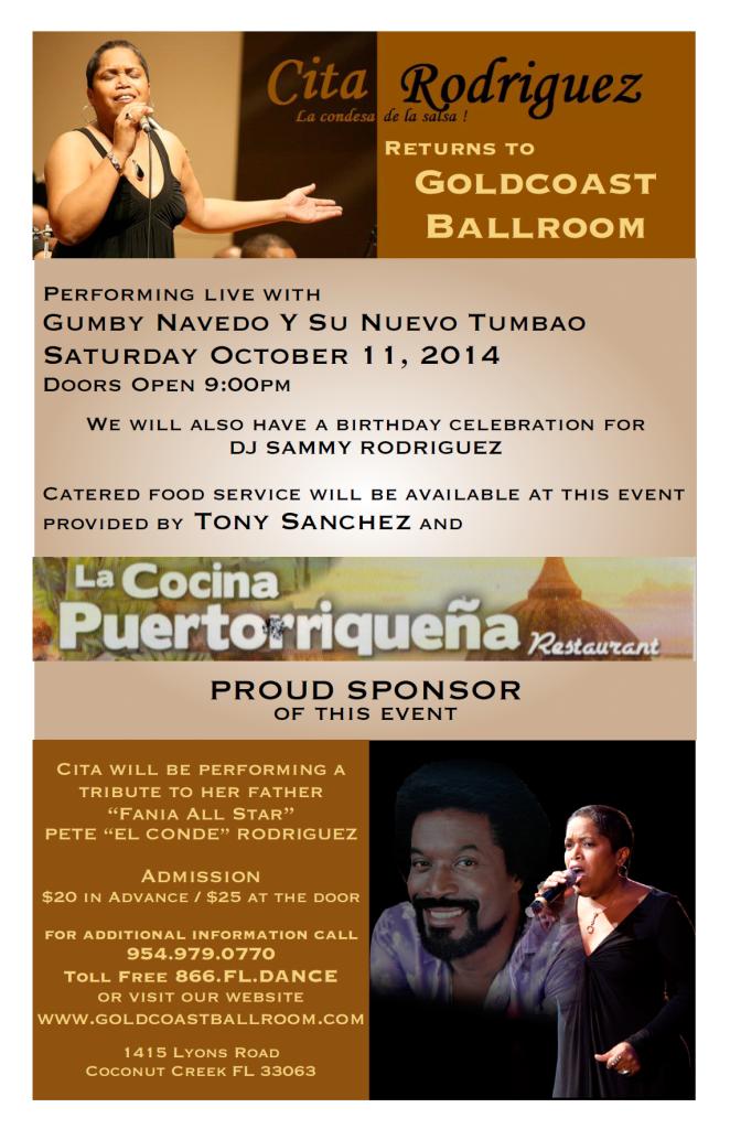 Cita Rodriguez, La Condesa de la Salsa, Returns to Goldcoast Ballroom - October 11, 2014