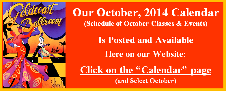 October, 2014 Calendar Posted and Available on this Website