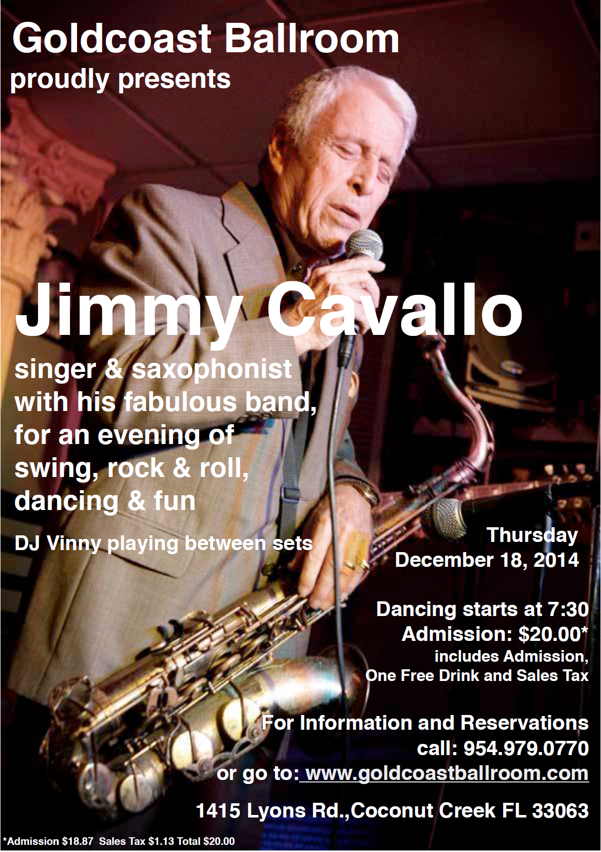 Jimmy Cavallo & His Band Live at Goldcoast Ballroom - December 18, 2014!!