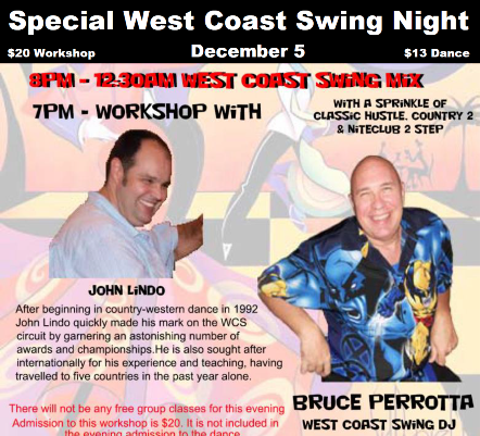 Special West Coast Swing Night – December 5, 2014!!  Featuring Workshop with John Lindo, National WCS Champion!!  West Coast Swing Mix with DJ Bruce Perrotta!!