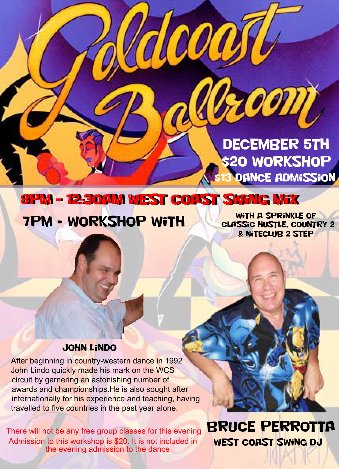 Click to Print: Special West Coast Swing Night at Goldcoast Ballroom - December 5, 2014!