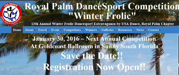 """Registration Open for Next USA Dance Royal Palm DanceSport Competition – """"Winter Frolic"""" – January 30, 2016 at Goldcoast Ballroom!!"""