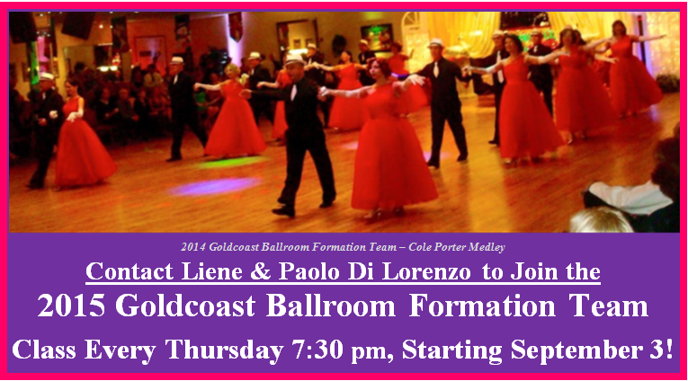 Contact Liene & Paolo Di Lorenzo to Join the 2015 Goldcoast Ballroom Formation Team