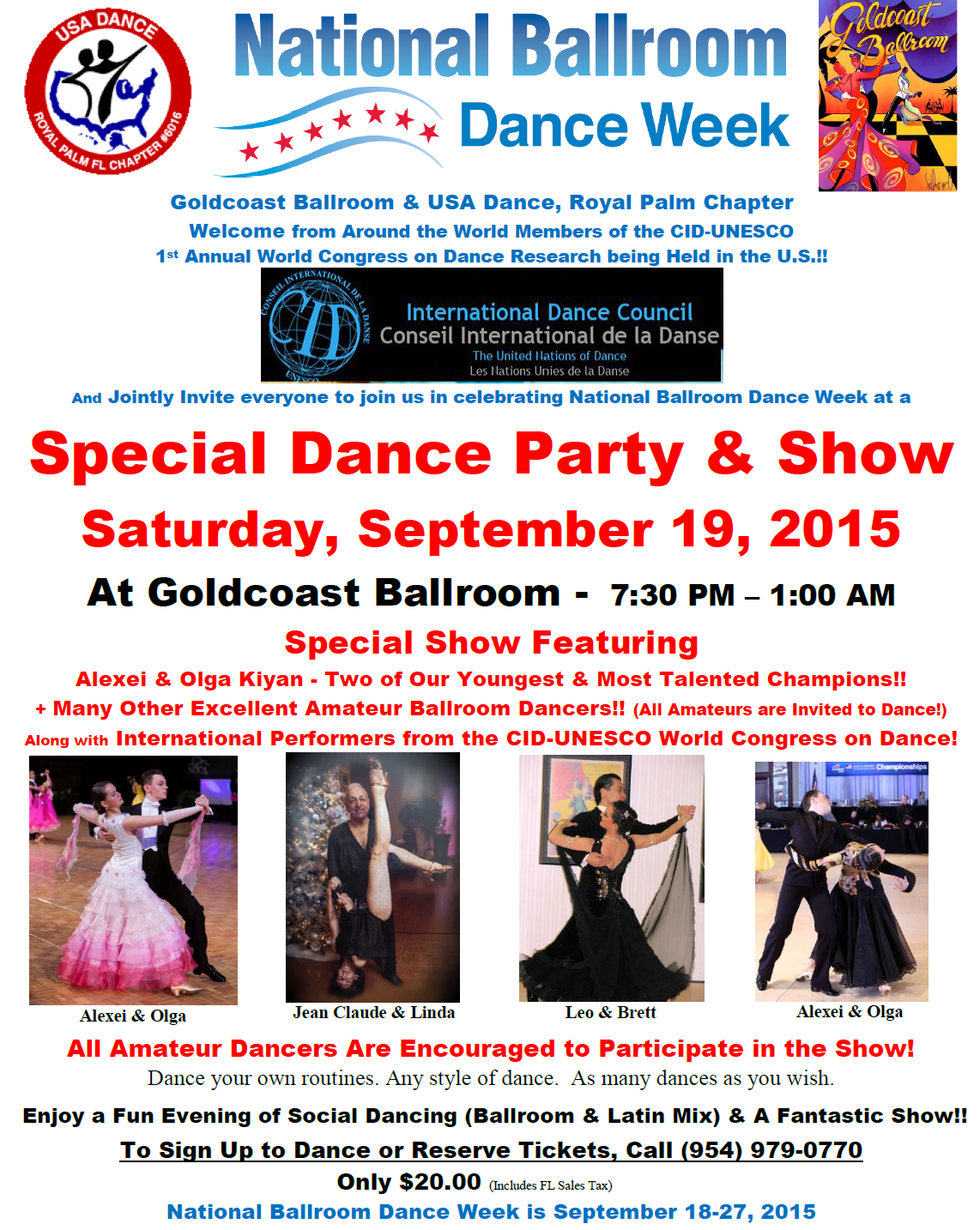 National Ballroom Dance Week Special Party & Show - September 19, 2015