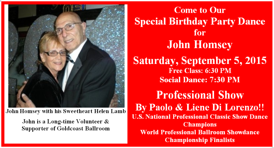 Birthday Party for John Homsey - Saturday, Sept 5, 2015 - 922 X 498