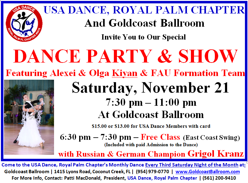 November 21, 2015 - USA Dance Party & Show - Come Every 3rd Saturday of the Month to USA Dance Night
