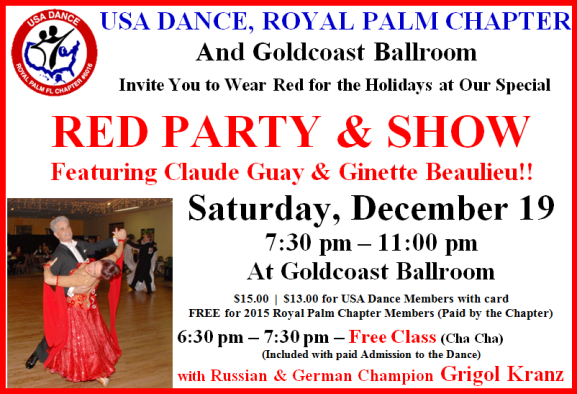 USA Dance Royal Palm Chapter – RED PARTY & SHOW! – Saturday, December 19 (7:30 PM – 11:00 PM) + Free Class w Russian & German Champion Grigol Kranz (6:30 PM – 7:30 PM)