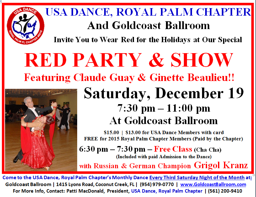 December 19, 2015 - USA Dance Night - Red Party & Show - Come to USA Dance Night on the 3rd Saturday of Every Month at Goldcoast Ballroom