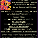 Prices of Our Regular Social Dances at Goldcoast Ballroom