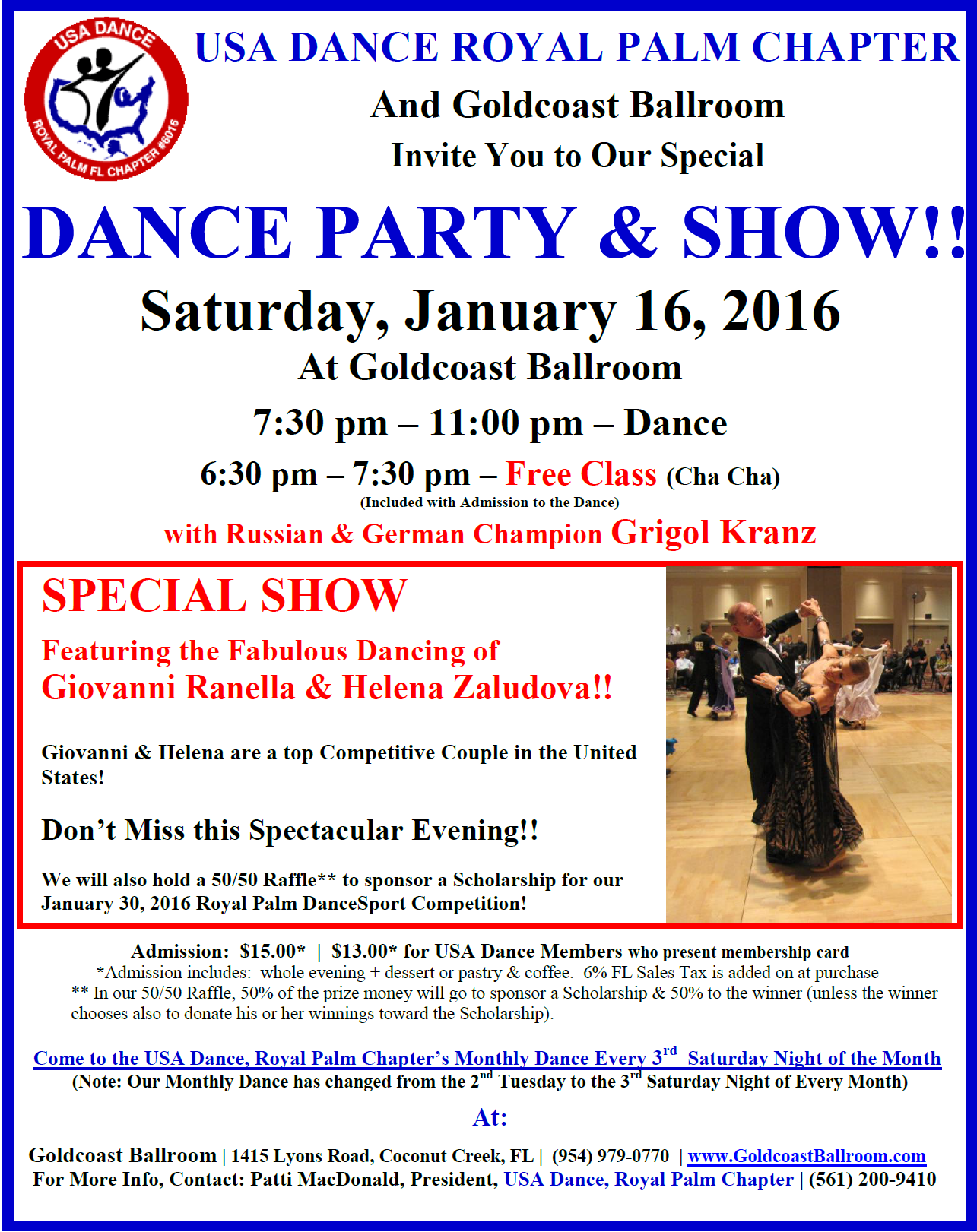 January 16 USA Dance Night - Dance Party & Show - Featuring Giovanni Rannella & Helena Zaludova!!