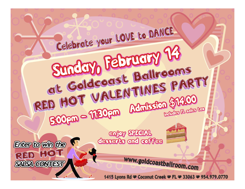 Red Hot Valentine's Day Party & Salsa Contest - February 14, 2016 - Flyer