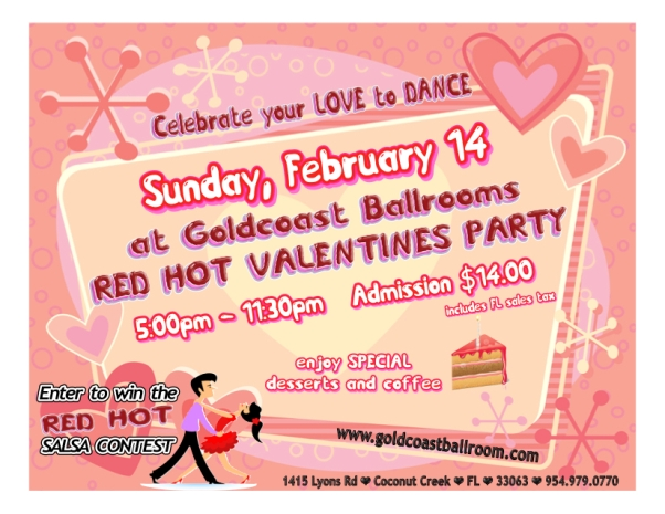 Red Hot Valentine's Day Party & Salsa Contest!!! — Sunday, February 14