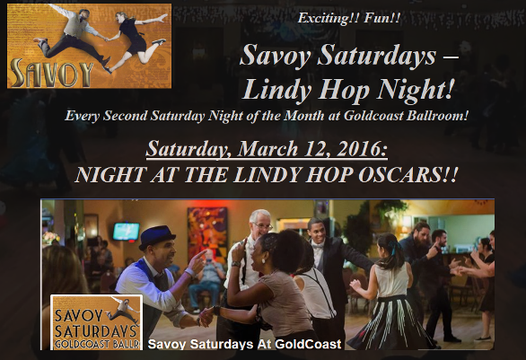 Savoy Saturdays - Lindy Hop Oscars! - Saturday, March 12, 2016