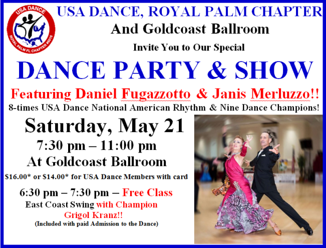 May 21, 2016 - USA Dance Party & Show Featuring the Fabulous Dancing of Daniel Fugazzotto & Janis Merluzzo!