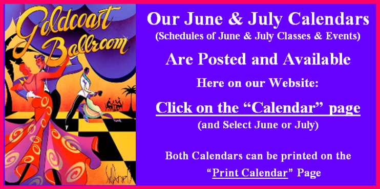 Our June & July 2016 Calendars of Classes & Events are Now Posted.  Go to our Calendar page & Click June or July