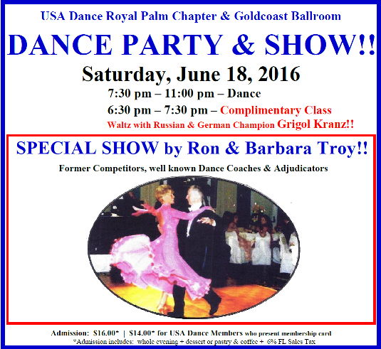 USA Dance Party & Show - June 18, 2016 - with Ron &  Barbara Troy