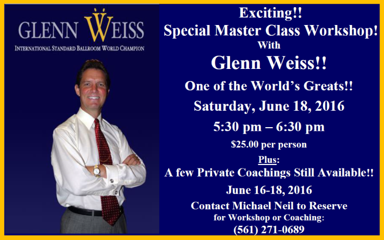 Flyer - Glenn Weiss - Master Wokshop & Coaching - June 16-18, 2016