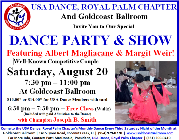August 20, 2016 - USA Dance & Show with Albert Magliacane & Margit Weir