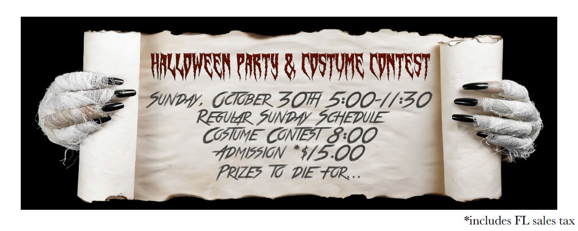 Goldcoast Ballroom Halloween Party & Costume Contest - Sunday, October 30, 2016!!