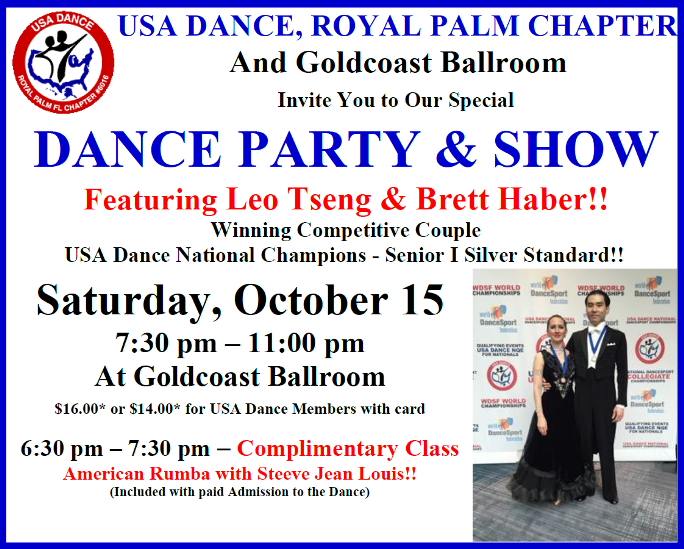 October 15, 2016 - USA Dance Party & Show - Featuring USA Dance National Champions Leo Tseng & Brett Haber!!