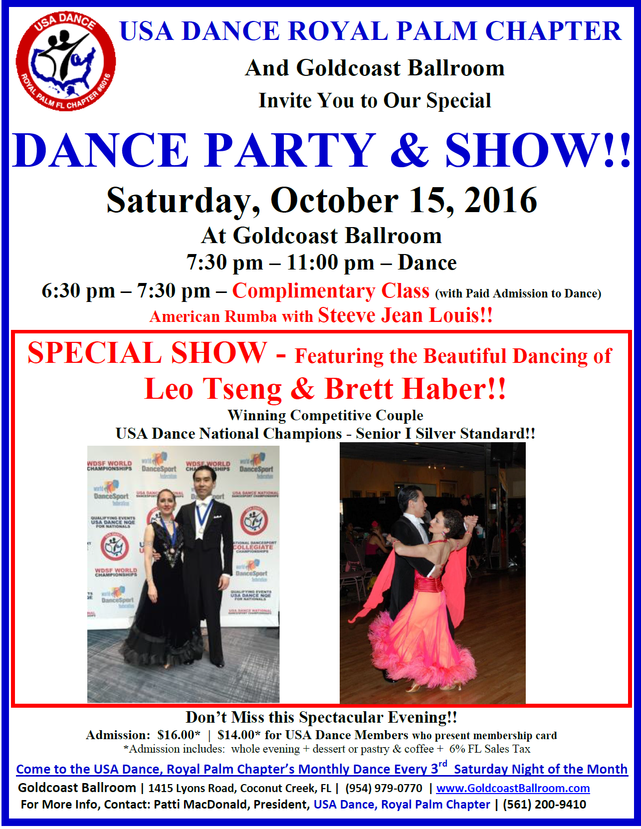 Click to Print Flyer: October 15, 2016 - USA Dance Party & Show - Featuring USA Dance National Champions Leo Tseng & Brett Haber