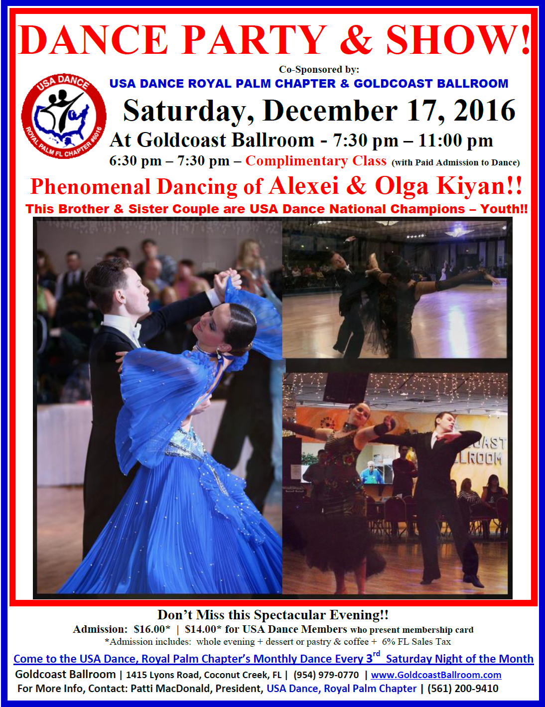 Click Here to Print Flyer:  Alexei & Olga Kiyan - Spectacular Show At USA Dance Night Party & Show -  December 17, 2016!