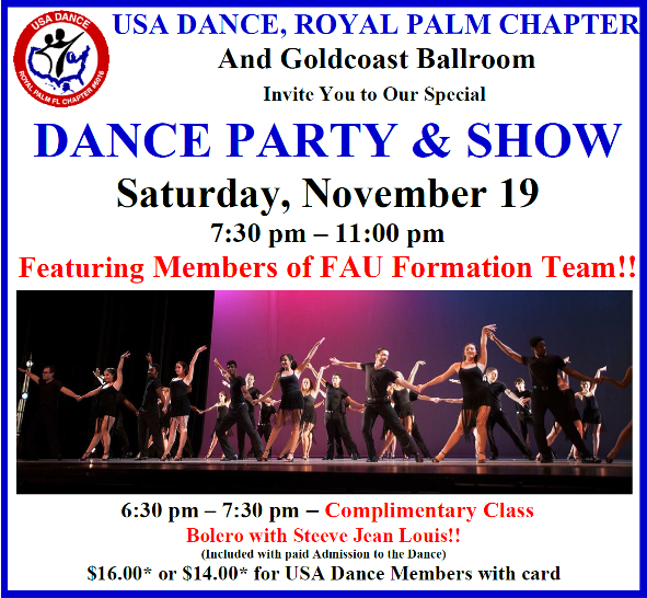 November 19 2016 USA Dance Party & Show Featuring Members Of the FAU Formation Team