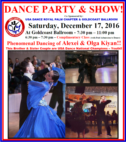 Don't Miss It!  Alexei & Olga Kiyan - Spectacular Show At The USA Dance Party (Open to Everyone) - December 17, 2016!!