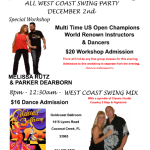 SPECIAL WEST COAST SWING NIGHT! – December 2, 2016 – Master Workshop with Visiting Champions Parker Dearborn & Melissa Rutz!! – And WCS Mix Dance with DJ Bruce Perrotta!!